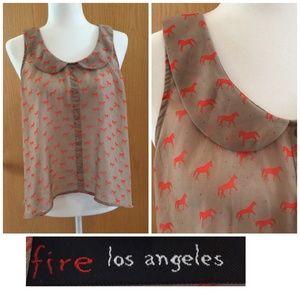 Fire Los Angeles Blouse Tan Sheer Horses